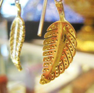 Jennifer Meyer 18K Yellow Gold Diamond Leaf Earrings