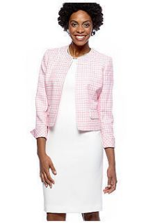 Le Suit Blazer Jacket Dress NWT 10 Pink White Plaid Tweed STUNNING NEW