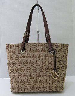 New Michael Kors E w Signature Jacquard Round Logo Tote Handbag