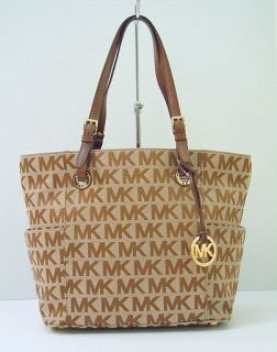 New Michael Kors E w Signature Jacquard Logo Tote Handbag Brown