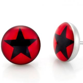 New Stainless Steel Mens Star Stud Earrings Black Red Jewelry