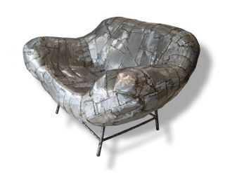 JoJo Art Patch Metal Modern Contemporary Arm Chair Sculpture Couch