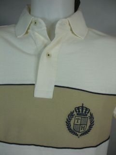 New Tommy Hilfiger Mens Golf Polo Shirt Tan Cream Mesh