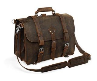 Vintage Leather Briefcase Backpack Messenger Laptop Case Bag 16 Large