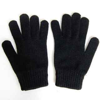 Mens Winter Gloves Black Wool Soft Stretch Knit Sz Large