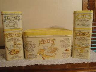 Vintage 4 Piece Cheinco Metal Canister Set with Matching Bread Box