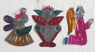 Vintage Tin Christmas Tree Ornaments Mexico Lot of 3 Folk Art Hand
