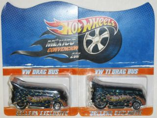 Hot Wheels 2011 Mexico Convention VW Drag Bus T1 Black Set Only 50