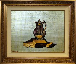 Michael Huggins BOOKS, SILVER PITCHER Original Oil Painting on Silver