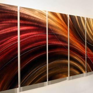 Modern Abstract Red Gold Jewel Toned Metal Wall Art Painting Decor