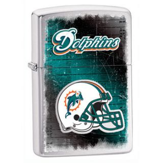 Zippo Miami Dolphins NFL Logo Lighter Brushed Chrome Low SHIP 28207