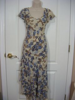 Jones New York Dress SILK Womens 4 White Blue Brown Floral Tiered