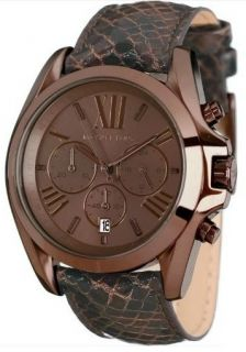 Brand New Michael Kors Brown Leather Strap Steel Case Womens Ladies