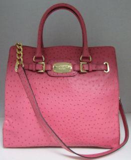 Michael Kors Hamilton Purse Bag Electric Pink Ostrich Leather Large NS