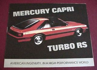 1983 Mercury Capri Turbo RS Brochure Dealer Use Only
