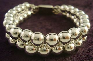 DESIGN TAXCO MEXICAN STERLING SILVER BEADED BEAD BRACELET MEXICO