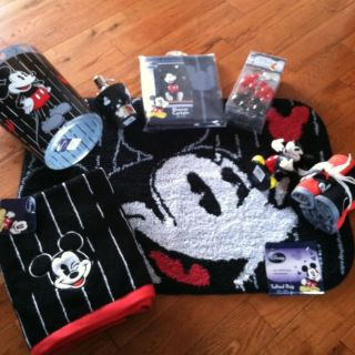 New Huge Lot Disney Mickey Mouse Bath Set Shower Curtain, Hooks, Rug