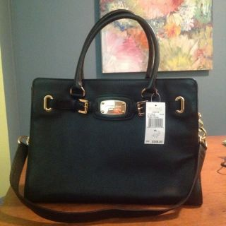 NWT MICHAEL KORS HAMILTON E W LEATHER SATCHEL TOTE HANDBAG BLACK W