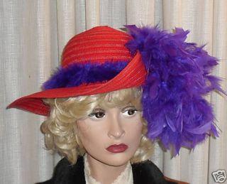 Ladies Red Fashion Hat Society Wide Big Brim Victorian