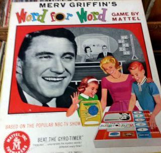 Merv Griffins Word for Board Game Mattel 1963 Jeopardy Wheel of