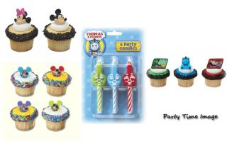 Cars McQueen Thomas Train Mickey Mouse Cupcake Rings Cake Candle U