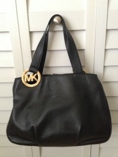 Genuine Michael Kors Black Leather Fulton E w Large Tote Handbag