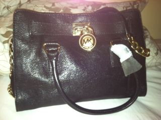 Black w Gold Hardware Michael Kors Hamilton East West Satchel