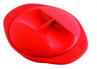 Silicone Round Steamer Cooker Microwave or Traditional Oven Red