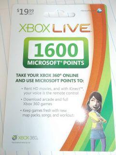 Box Live 1600 Microsoft Points Card