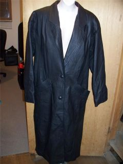 Vintage Womens Black Leather Full Length Goth Punktrench Coat Sz M