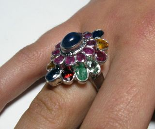 MAGNIFICIENT Estate 6CTW Genuine Sapphire Emerald & Ruby Sterling Ring