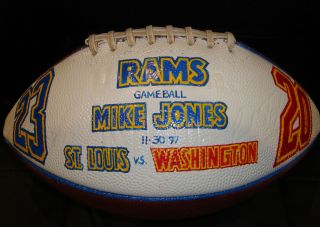 Mike Jones The Tackle Game Used St Louis Rams Presentation Football 11