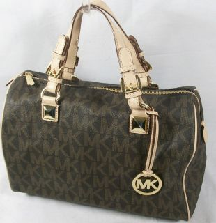 Michael Kors Grayson Large Satchel Brown Monogrammed 328