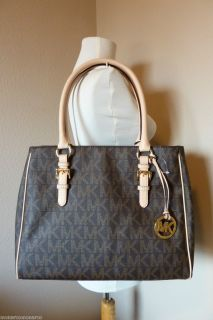 Michael Kors Brown Signature Logo Medium Work Tote $298