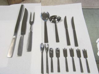 Vintage Capri Stainless Flatware Serving Pieces Italy Midcentury