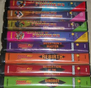 Transformers Lot of 8 VHS Movies Original Black Case 1995 1998 Hasbro