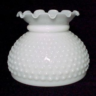 New White Milk Glass Hobnail Student 6 inch Lamp Shade Kerosene Oil