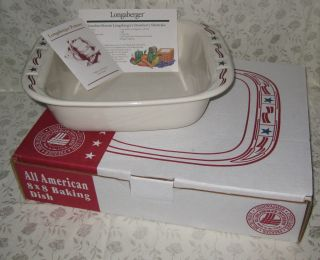 Retired Longaberger Woven Traditions All American 8 x 8 Baking Dish