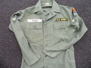 Early Vietnam War US Army Soldiers Combat Fatigue Uniform Shirt w