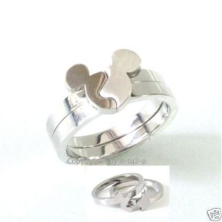 Pick U R Size Stainless Steel Mickey Mouse Puzzle Ring