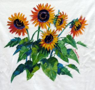Mikki Senkarik Original Oil Painting Sunflowers Tee Shirt Wearable Art