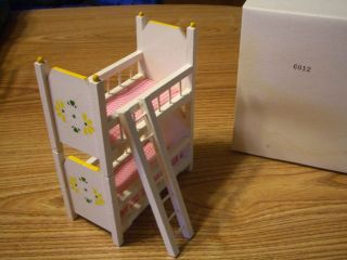 CONCORD DOLLHOUSE MINI PINK WHITE YELLOW YOUTH BUNK BED 6012 MINT OB