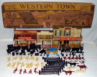 WESTERN TOWN PLAYSET IN ORIGINAL BOX WITH TIN ROY ROGERS MINERAL CITY