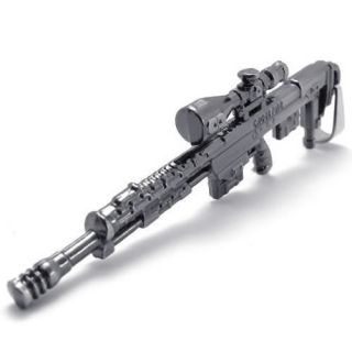 Mens Army Scope Gun Rifle Pendant Necklace Chain US120320