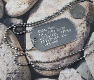 Custom Medical ID Alert Military Dog Tag Necklace Diabetic Embossed