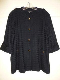 Ming Wang Black Knit Jacket Blazer Size 2X Basket Weave Jacquard Print