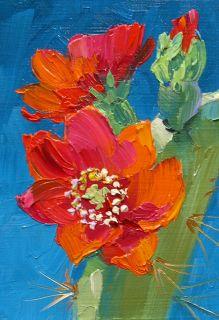 Mikki Senkarik Art Original Oil Painting ACEO Desert Cactus Flower