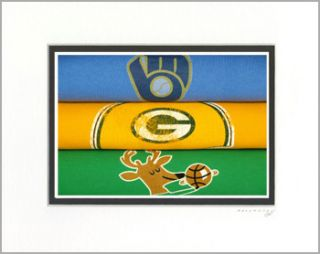 Milwaukee Brewers Bucks Green Bay Packers Vintage Retro T Shirt Art