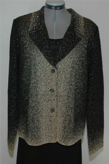 Ming Wang Black Gold Crystal Button Jacket Shell XL