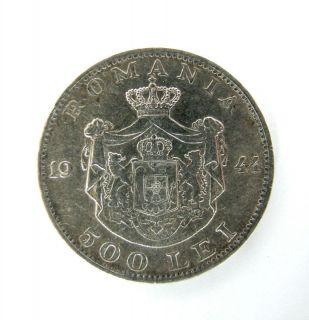 Romania Silver Coin 500 Lei 1944 King Mihai 18